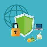 互联网安全设计 系统象 五颜六色的例证,传染媒介 库存照片