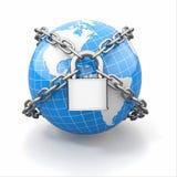 互联网安全comcept。地球和锁。 库存例证