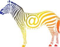 互联网斑马simbol有彩虹的基本的颜色的 库存照片