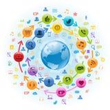 互联网社会媒体地球 免版税图库摄影