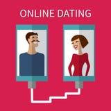 互联网约会、网上调情的人和联系 流动 库存照片