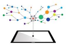 互联网网络技术的概念到片剂里 库存图片