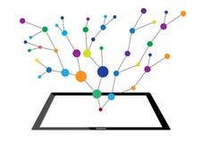 互联网网络技术的概念到片剂里 免版税库存照片