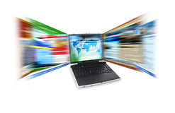 互联网膝上型计算机速度 库存图片