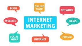 互联网营销,行动图表夹子艺术概念 免版税库存照片