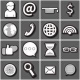 互联网象集合黑白色 平的传染媒介 库存照片