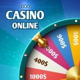 互联网赌博娱乐场营销与转动的时运轮子的传染媒介背景 皇族释放例证
