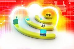 互联网通过在个人计算机、电话、膝上型计算机和片剂个人计算机的路由器。 免版税库存图片