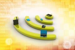 互联网通过在个人计算机、电话、膝上型计算机和片剂个人计算机的路由器。 库存图片