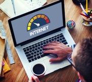 互联网速度测试软件概念 免版税库存照片