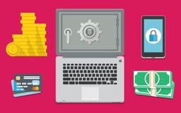 互联网银行业务是安全的 免版税库存图片