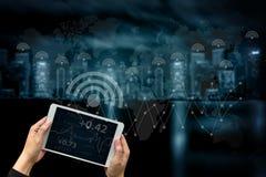 互联网iot人用途事技术智能手机互联网( 免版税库存照片