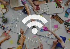 互联网WiFi网络连接图表概念 免版税库存照片