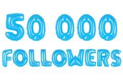 五万个追随者,蓝色颜色 免版税库存照片