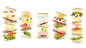五不同开放浮动三明治 免版税图库摄影