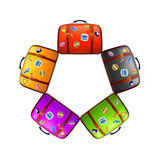 五个不同颜色手提箱 免版税库存照片