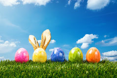 五个五颜六色的复活节彩蛋行在绿草的与兔宝宝ea 库存图片