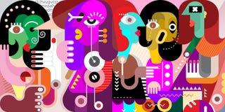 五个人抽象画象  免版税图库摄影