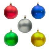 五个圣诞节球 库存照片