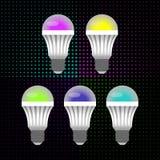 五个多彩多姿的LED节能电灯泡在小圈子背景中  向量例证