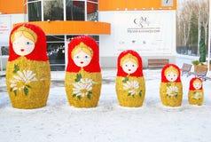 五个大babushka玩偶。 免版税库存照片