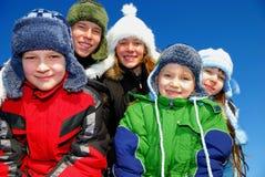 五个孩子冬天 免版税库存照片