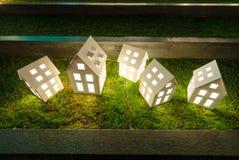 五个房子灯 库存图片