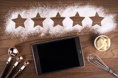 五个星在烹调背景的产品质量规定值 免版税库存图片