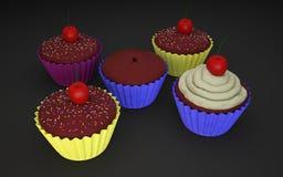 五个杯形蛋糕3D照片 向量例证
