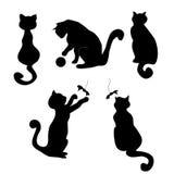 五个猫的剪影 免版税库存图片