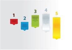 五个现代传染媒介箭头。五步,五种不同颜色。 库存照片