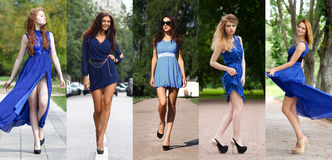 五个美好的模型拼贴画在蓝色礼服的 库存图片