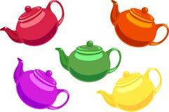 五个茶壶 库存照片