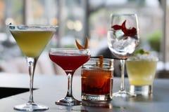 五个经典鸡尾酒 免版税库存图片