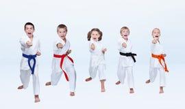 五个karateka孩子打拳打胳膊 库存图片
