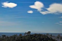 五乡地的海全景 树,海,天空在五乡地的全景 Monte grosso 拉斯佩齐亚省 库存照片