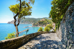 五乡地:供徒步旅行的小道向蒙泰罗索阿尔马雷在初夏,利古里亚意大利 免版税库存图片