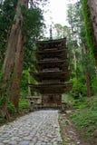 五传说上有名塔, Tsuruoka市 图库摄影