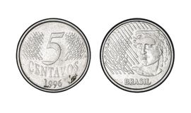 五分铸造,年1996年-从巴西的老硬币 图库摄影