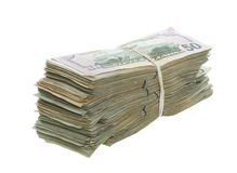 五十一起被堆积的被结合的票据美元 库存照片