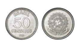 五十有十字架花样的银币分铸造,年1986年-从巴西的老硬币 免版税库存图片