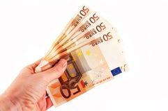 五十欧元手中 免版税库存图片