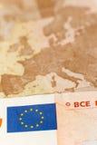五十欧元票据宏观射击  库存图片