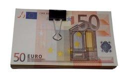 五十欧元金钱隔绝了一盒欧元png 库存图片