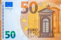 五十欧元钞票的特写镜头,欧洲货币金钱 图库摄影