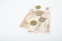 五十欧洲笔记扇动了与各种各样的欧洲硬币 免版税库存照片