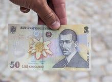 五十罗马尼亚钞票列伊的后部 免版税图库摄影