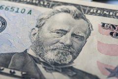 五十美元钞票,特写镜头 库存图片