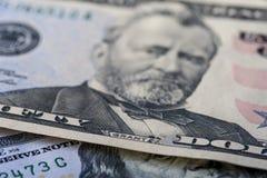 五十美元钞票,特写镜头 图库摄影