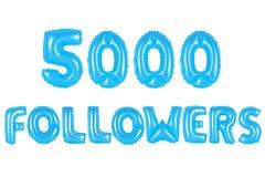 五千个追随者,蓝色颜色 库存照片